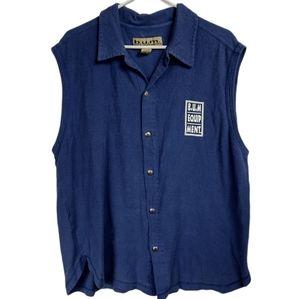 Vintage Large B.U.M. Equipment blue sleeveless